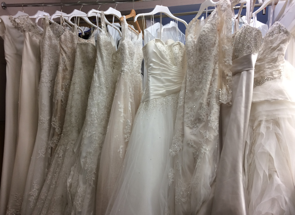 Cleaned and rejuvenated wedding dresses ready to be boxed